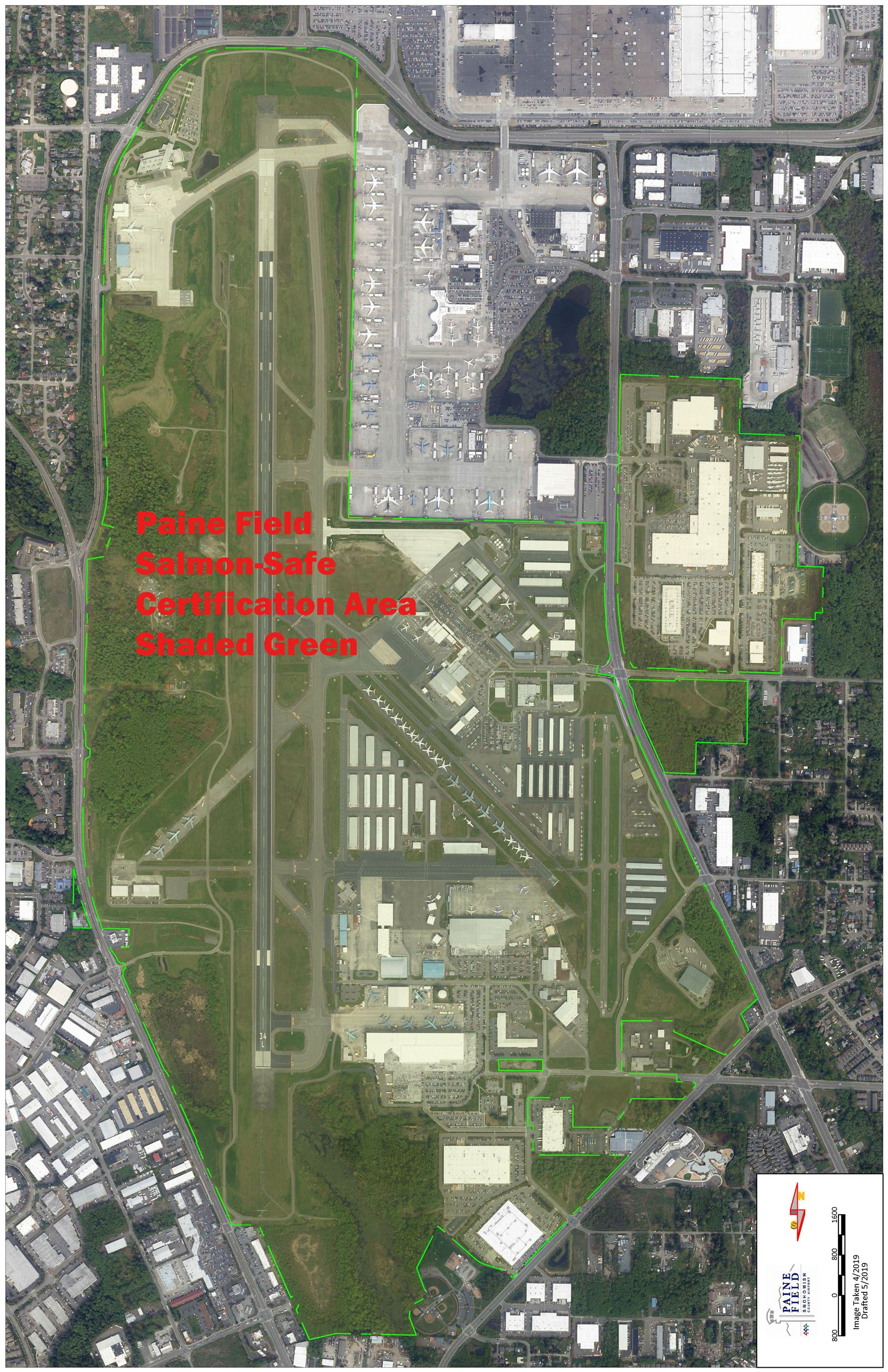 Map of Paine Field Airport properties certified Salmon-Safe.